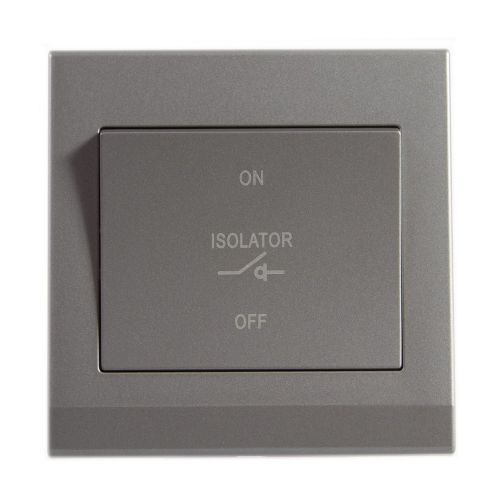 Simplicity Grey Screwless 10A 3 Pole Fan Isolator Switch 08012